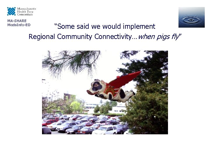 """MA-SHARE Meds. Info-ED """"Some said we would implement Regional Community Connectivity…when pigs fly"""""""