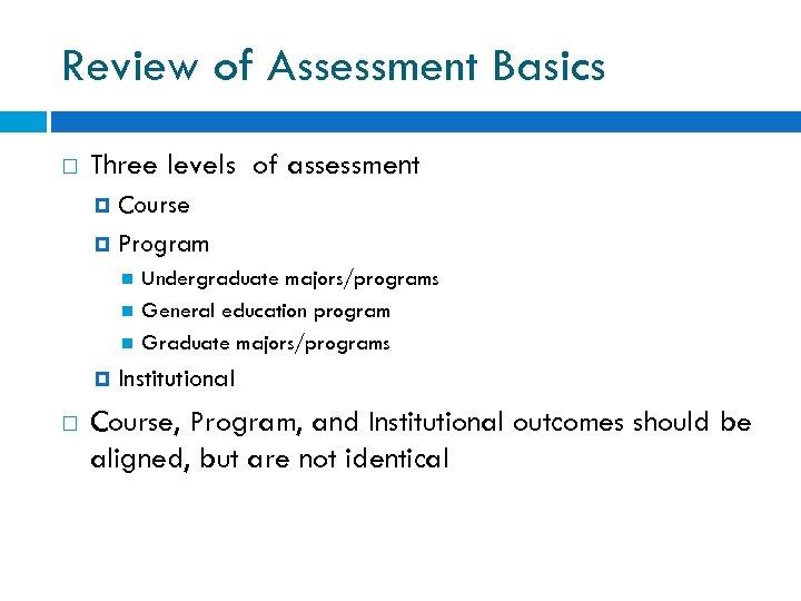 Review of Assessment Basics Three levels of assessment Course Program Undergraduate majors/programs General education