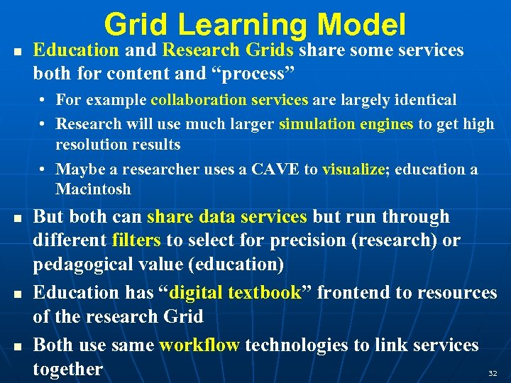 Grid Learning Model n Education and Research Grids share some services both for content