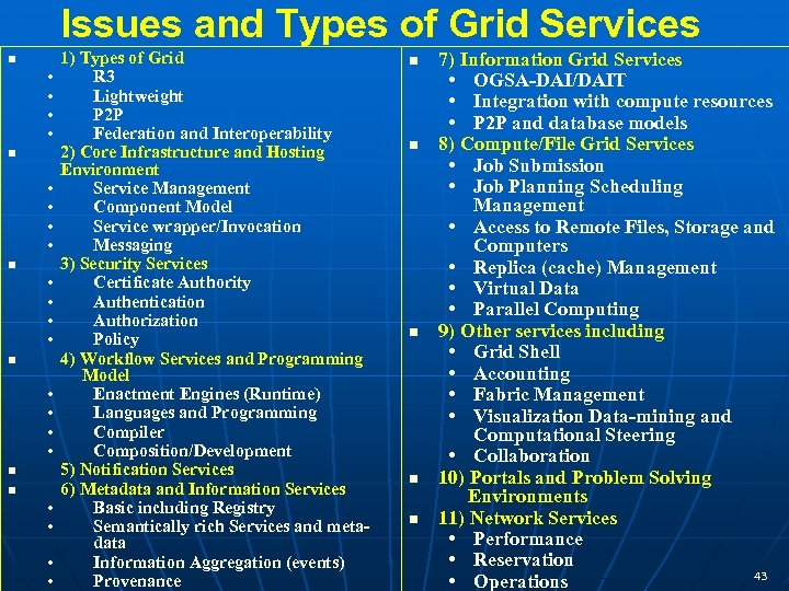 Issues and Types of Grid Services n • • • • n n •