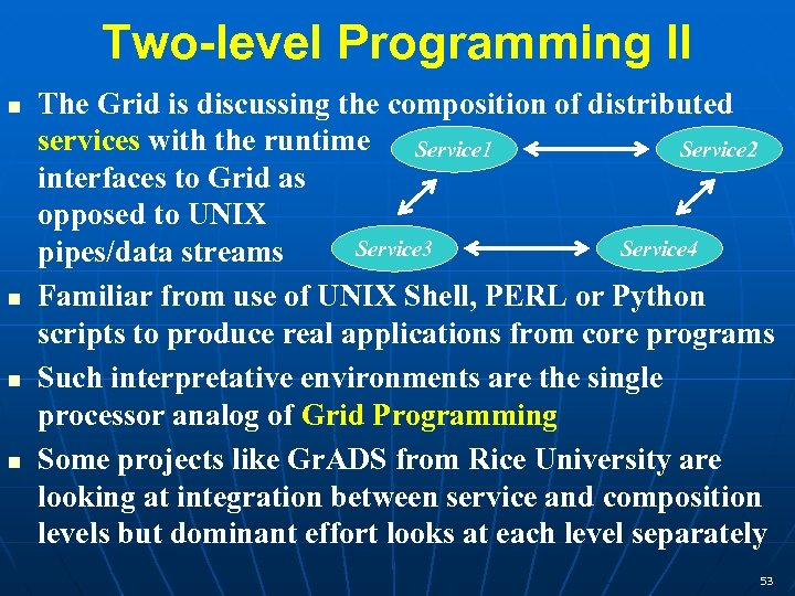 Two-level Programming II n n The Grid is discussing the composition of distributed services