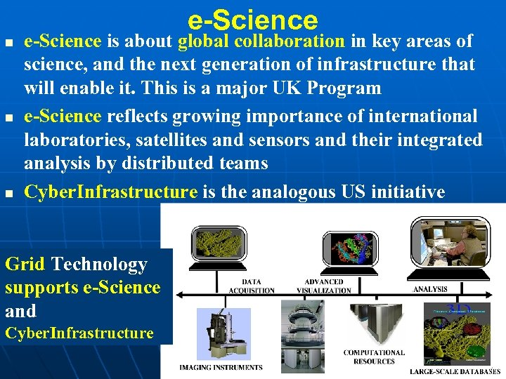 e-Science n n n e-Science is about global collaboration in key areas of science,