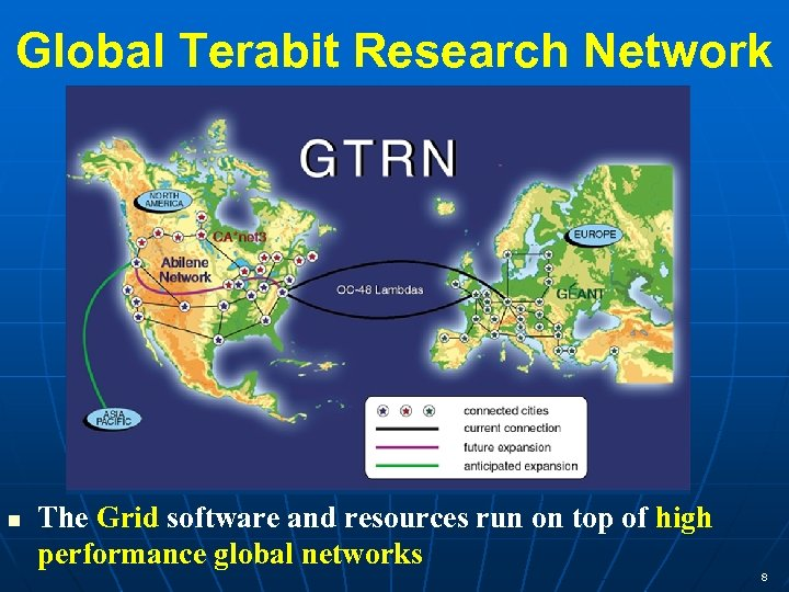 Global Terabit Research Network n The Grid software and resources run on top of
