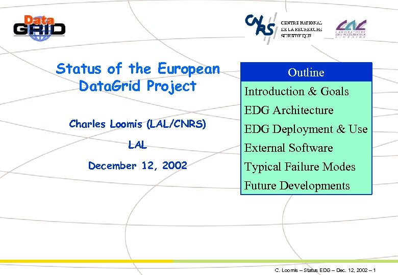 Status of the European Data. Grid Project Charles Loomis (LAL/CNRS) LAL December 12, 2002