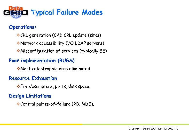 Typical Failure Modes Operations: v. CRL generation (CA); CRL update (sites) v. Network accessibility