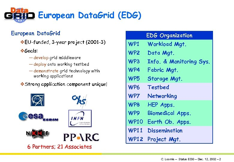 European Data. Grid (EDG) European Data. Grid v. EU-funded, 3 -year project (2001 -3)