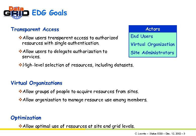 EDG Goals Transparent Access Actors v. Allow users transparent access to authorized resources with