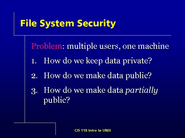 File System Security Problem: multiple users, one machine 1. How do we keep data
