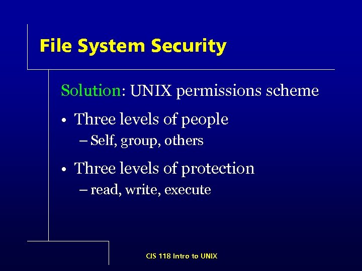 File System Security Solution: UNIX permissions scheme • Three levels of people – Self,