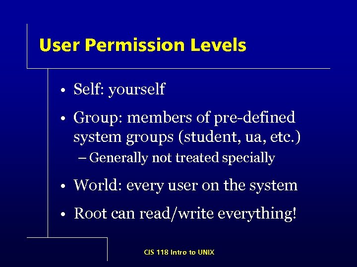 User Permission Levels • Self: yourself • Group: members of pre-defined system groups (student,