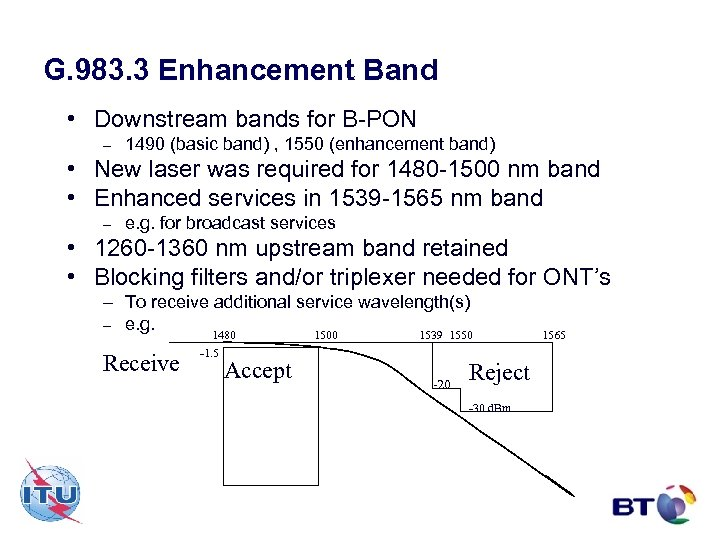 G. 983. 3 Enhancement Band • Downstream bands for B-PON – 1490 (basic band)