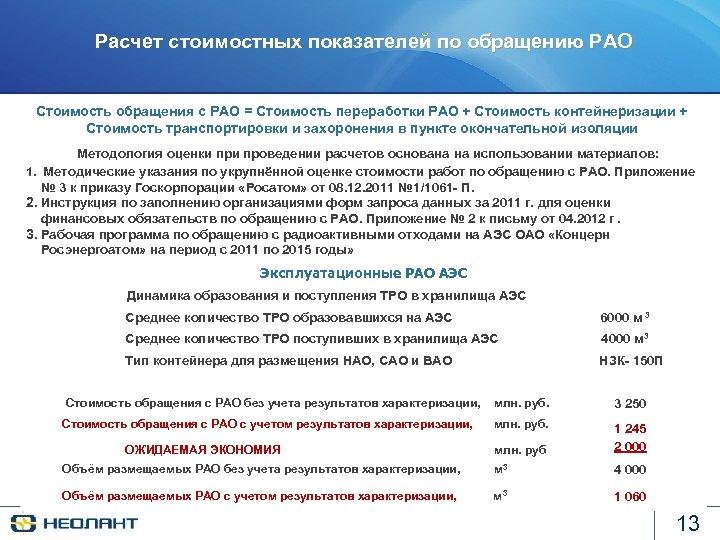 Расчет стоимостных показателей по обращению РАО Стоимость обращения с РАО = Стоимость переработки РАО
