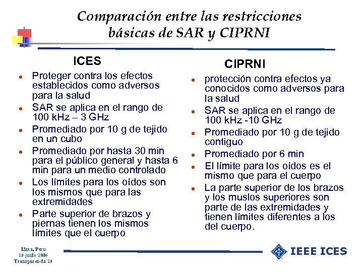 Comparación entre las restricciones básicas de SAR y CIPRNI ICES l l l Proteger