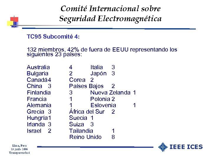 Comité Internacional sobre Seguridad Electromagnética TC 95 Subcomité 4: 132 miembros, 42% de fuera