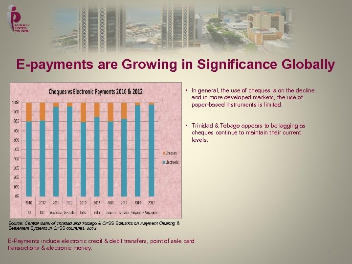 E-payments are Growing in Significance Globally • In general, the use of cheques is