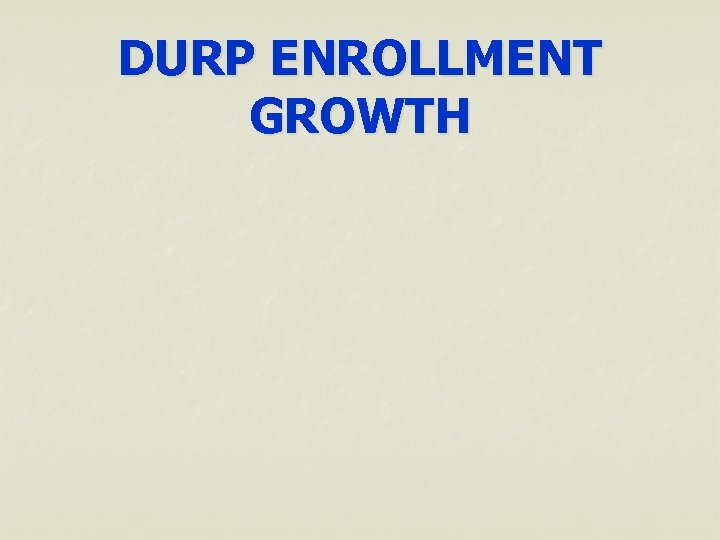 DURP ENROLLMENT GROWTH