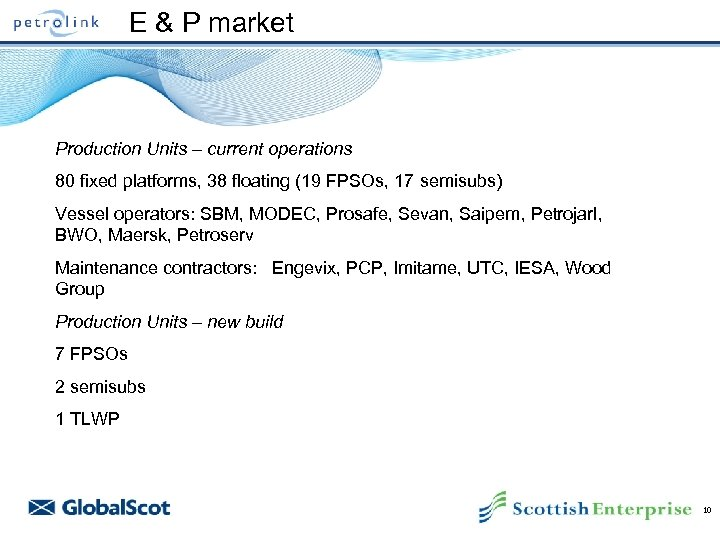 E & P market Production Units – current operations 80 fixed platforms, 38 floating