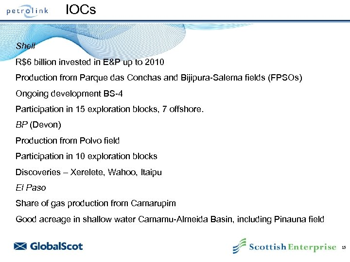 IOCs Shell R$6 billion invested in E&P up to 2010 Production from Parque das