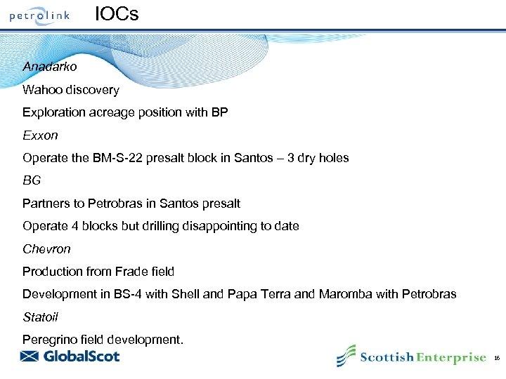 IOCs Anadarko Wahoo discovery Exploration acreage position with BP Exxon Operate the BM-S-22 presalt