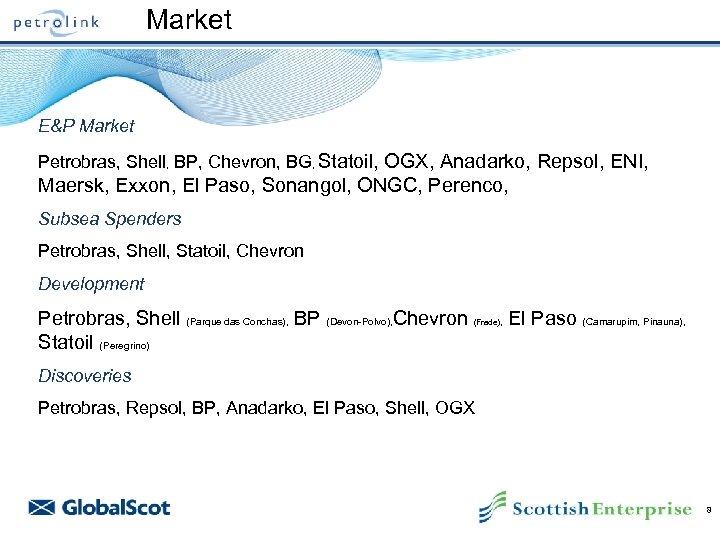 Market E&P Market Petrobras, Shell, BP, Chevron, BG, Statoil, OGX, Anadarko, Repsol, ENI, Maersk,