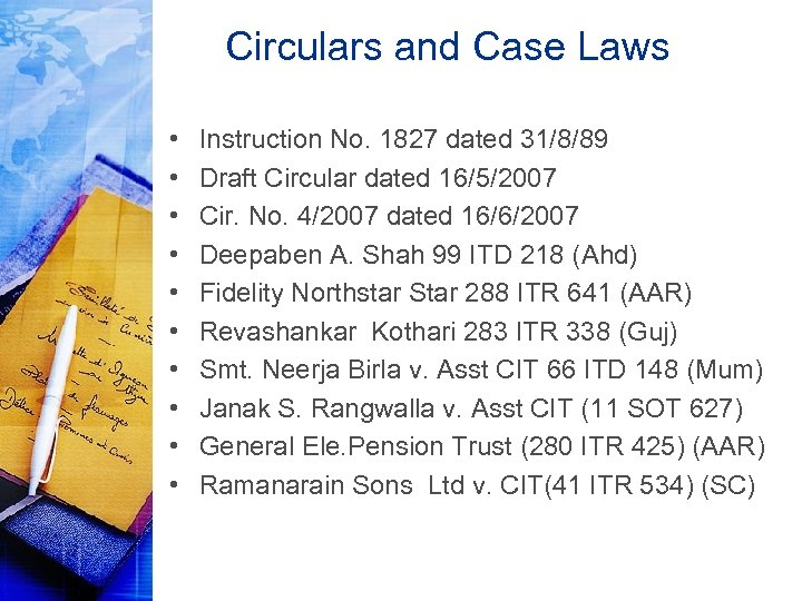 Circulars and Case Laws • • • Instruction No. 1827 dated 31/8/89 Draft Circular