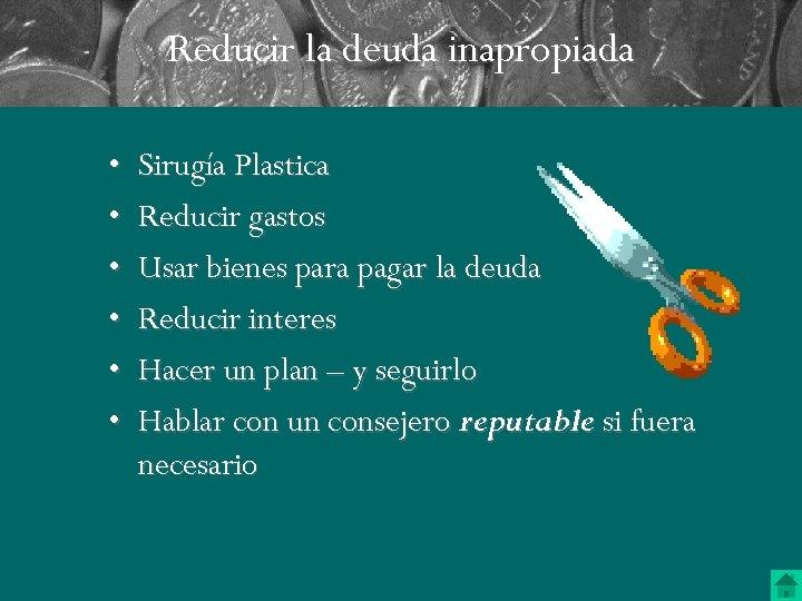 Reducir la deuda inapropiada • • • Sirugía Plastica Reducir gastos Usar bienes para