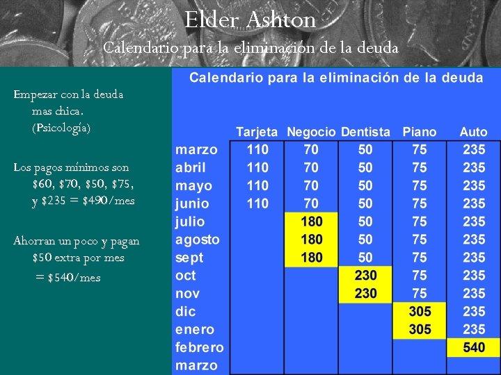 Elder Ashton Calendario para la eliminación de la deuda Empezar con la deuda mas