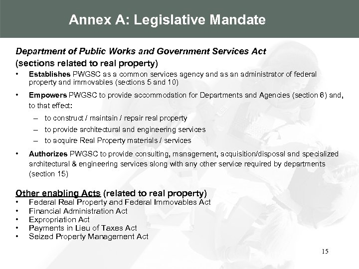 Annex A: Legislative Mandate Department of Public Works and Government Services Act (sections related