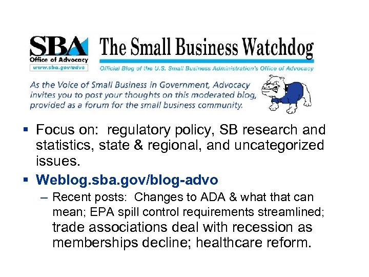 § Focus on: regulatory policy, SB research and statistics, state & regional, and uncategorized