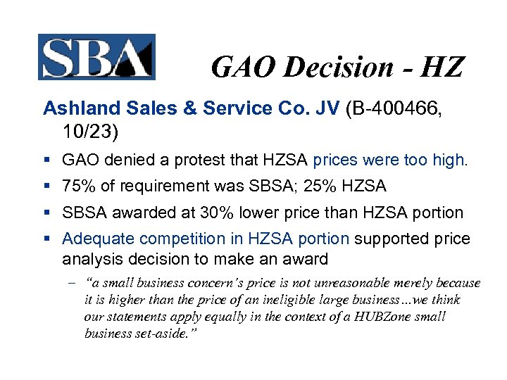 GAO Decision - HZ Ashland Sales & Service Co. JV (B-400466, 10/23) § GAO