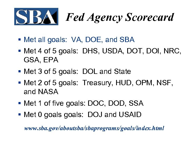 Fed Agency Scorecard § Met all goals: VA, DOE, and SBA § Met 4