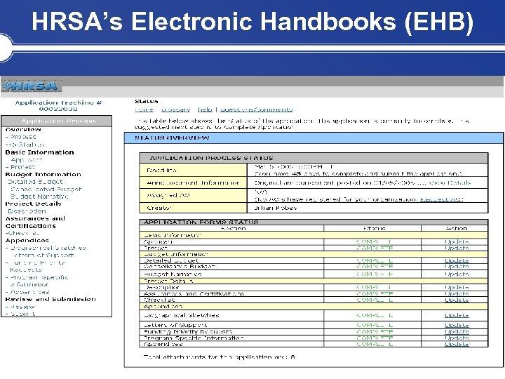 HRSA's Electronic Handbooks (EHB)