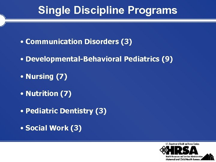 Single Discipline Programs • Communication Disorders (3) • Developmental-Behavioral Pediatrics (9) • Nursing (7)
