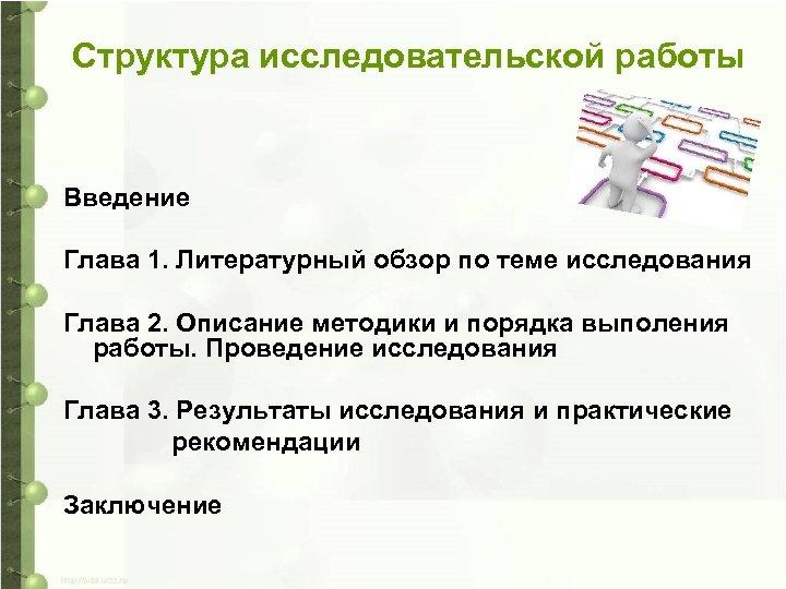 Структура исследовательской работы Введение Глава 1. Литературный обзор по теме исследования Глава 2. Описание