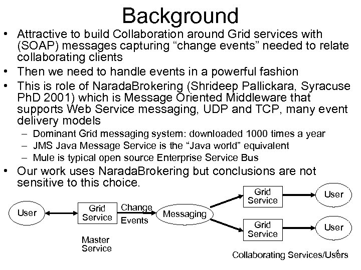"Background • Attractive to build Collaboration around Grid services with (SOAP) messages capturing ""change"