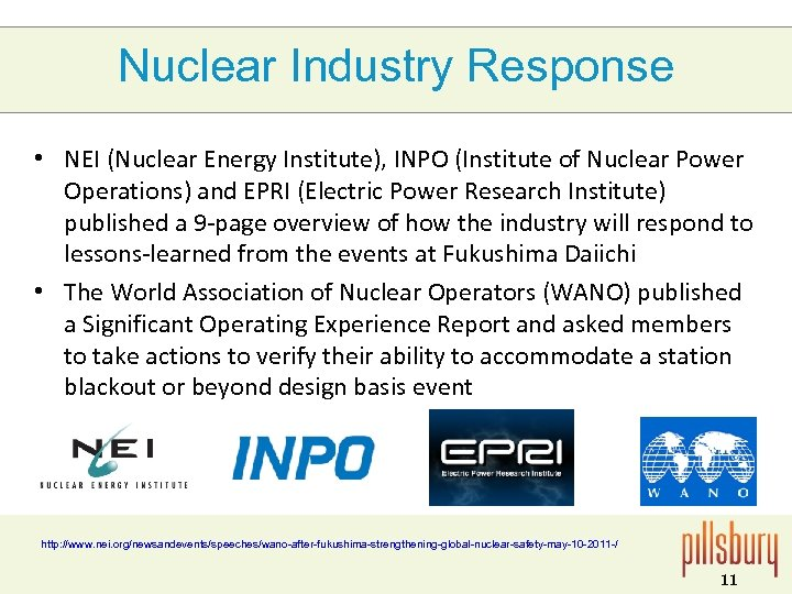 Nuclear Industry Response • NEI (Nuclear Energy Institute), INPO (Institute of Nuclear Power Operations)