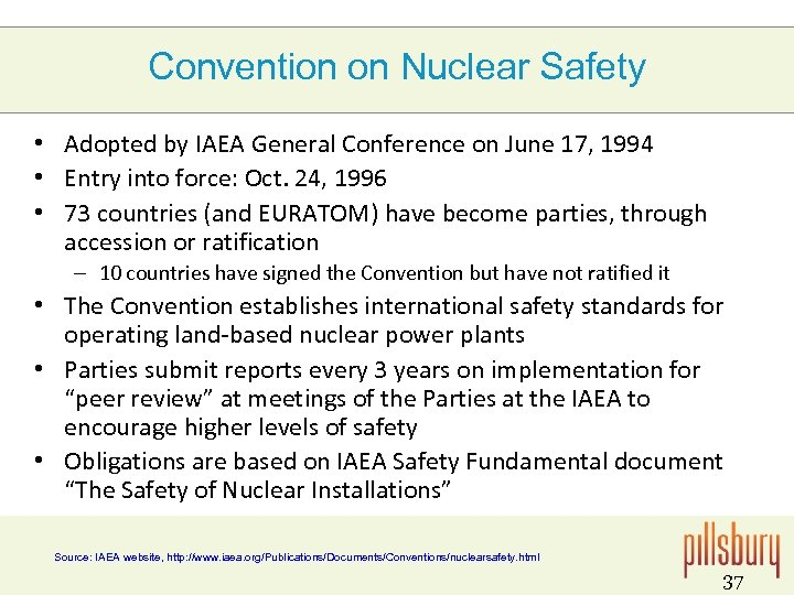 Convention on Nuclear Safety • Adopted by IAEA General Conference on June 17, 1994