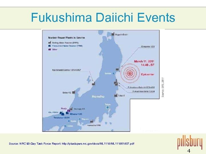Fukushima Daiichi Events Source: NRC 90 -Day Task Force Report: http: //pbadupws. nrc. gov/docs/ML
