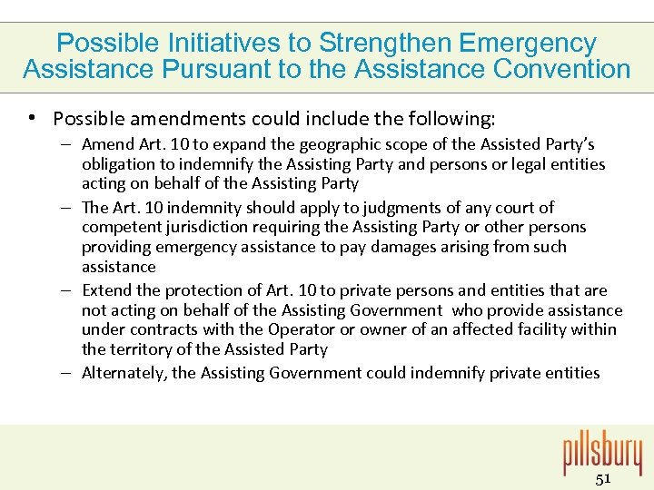 Possible Initiatives to Strengthen Emergency Assistance Pursuant to the Assistance Convention • Possible amendments