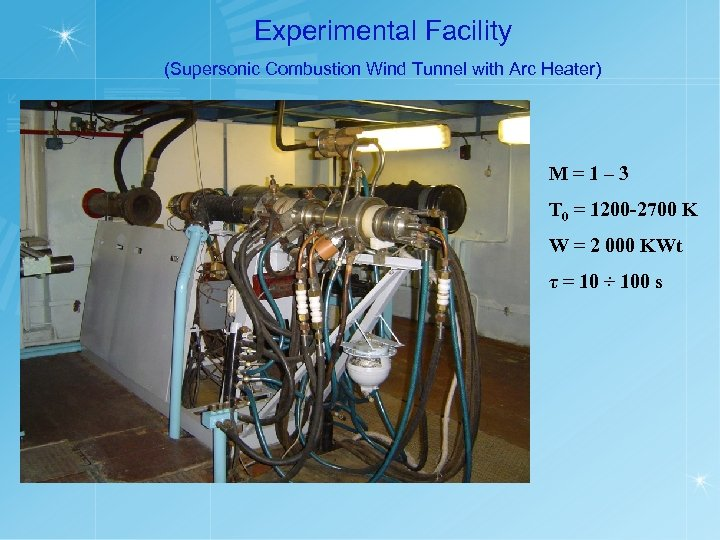 Experimental Facility (Supersonic Combustion Wind Tunnel with Arc Heater) M=1– 3 T 0 =