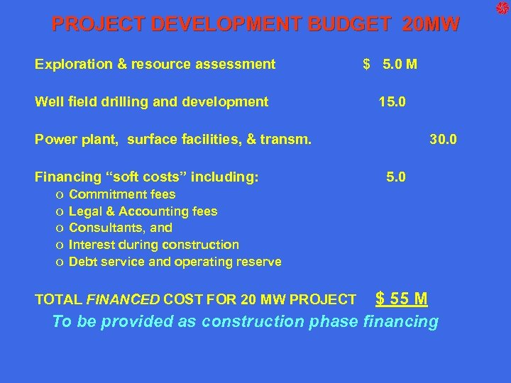 PROJECT DEVELOPMENT BUDGET 20 MW Exploration & resource assessment $ 5. 0 M Well