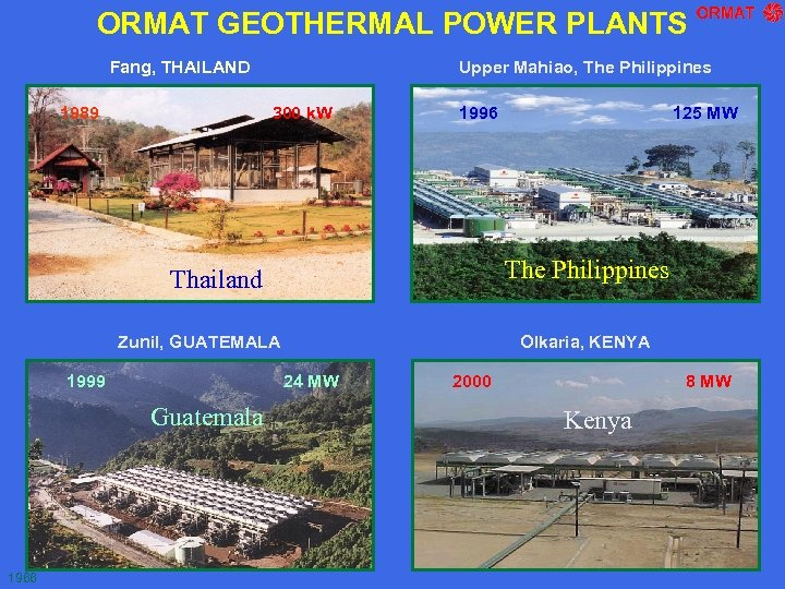ORMAT GEOTHERMAL POWER PLANTS Fang, THAILAND 1989 Upper Mahiao, The Philippines 300 k. W