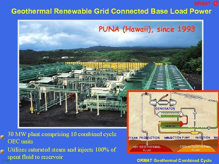 Geothermal Renewable Grid Connected Base Load Power PUNA (Hawaii), since 1993 CONDENSER GENERATOR TURBIN