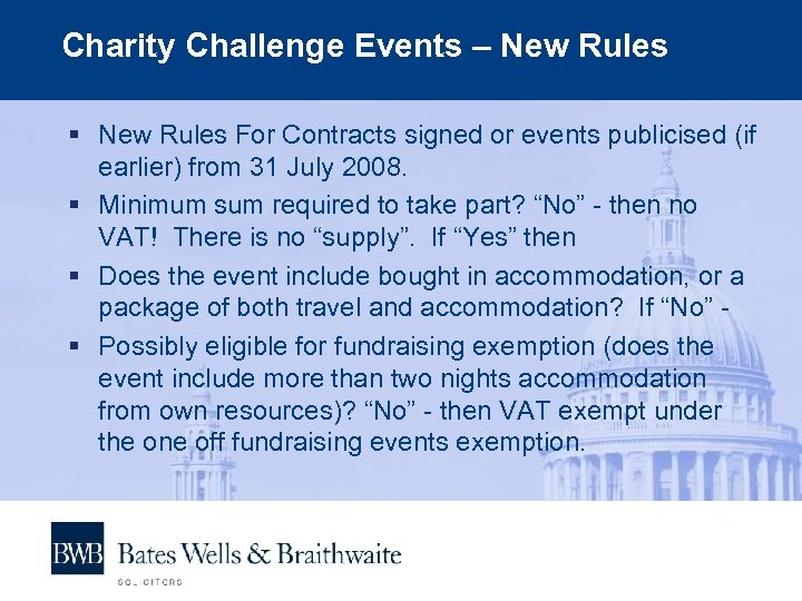 Charity Challenge Events – New Rules § New Rules For Contracts signed or events