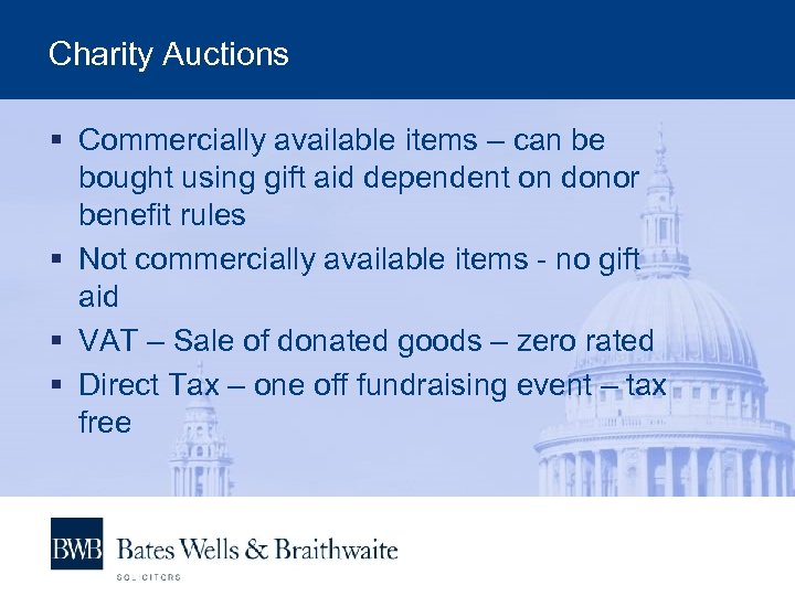 Charity Auctions § Commercially available items – can be bought using gift aid dependent