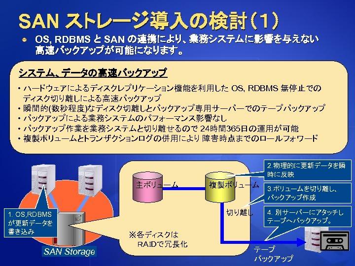 SAN ストレージ導入の検討(1) OS, RDBMS と SAN の連携により、業務システムに影響を与えない 高速バックアップが可能になります。 システム、データの高速バックアップ • ハードウェアによるディスクレプリケーション機能を利用した OS, RDBMS 無停止での