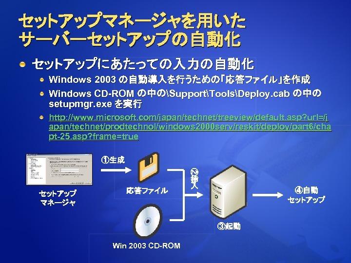 セットアップマネージャを用いた サーバーセットアップの自動化 セットアップにあたっての入力の自動化 Windows 2003 の自動導入を行うための「応答ファイル」を作成 Windows CD-ROM の中のSupportToolsDeploy. cab の中の setupmgr. exe を実行