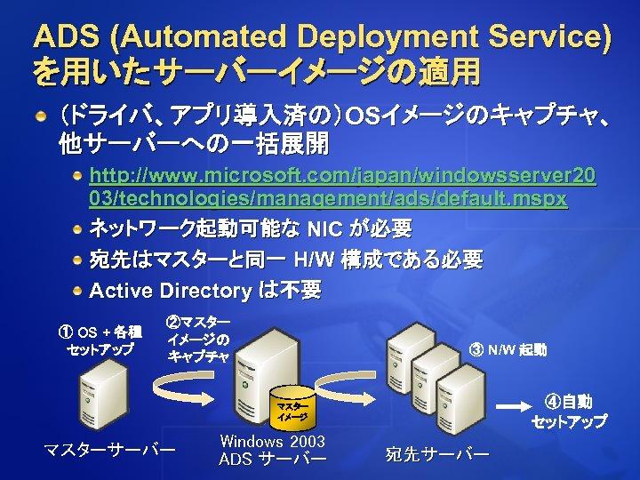 ADS (Automated Deployment Service) を用いたサーバーイメージの適用 (ドライバ、アプリ導入済の)OSイメージのキャプチャ、 他サーバーへの一括展開 http: //www. microsoft. com/japan/windowsserver 20 03/technologies/management/ads/default. mspx