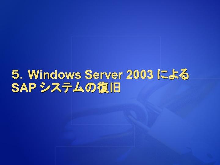 5.Windows Server 2003 による SAP システムの復旧