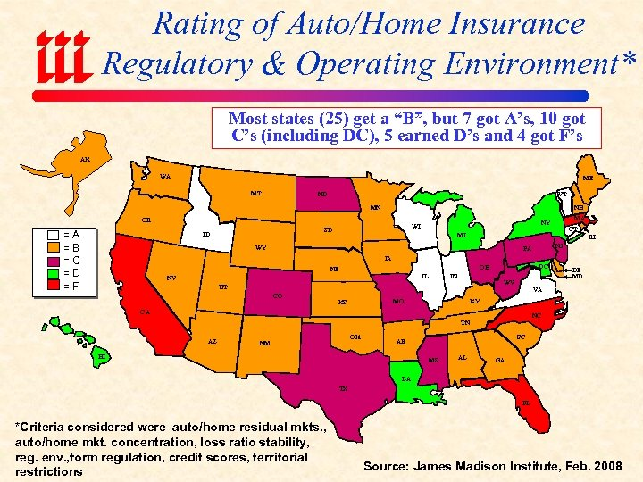 "Rating of Auto/Home Insurance Regulatory & Operating Environment* Most states (25) get a ""B"","